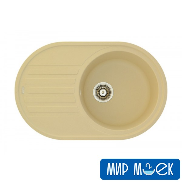 Кухонная гранитная мойка овальной формы Fabiano ARC 77*50 Cream