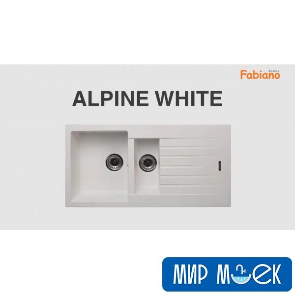 Гранитная мойка с фруктовницей Fabiano Classic 100*50*15 Alpine White