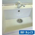 Гладкая кухонная мойка Fabiano Quadro 56*51 Alpine White