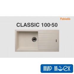 Мойка гранитная с большой чашей и крылом Fabiano Classic 100*50 Cream